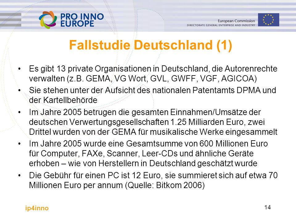 ip4inno 14 Fallstudie Deutschland (1) Es gibt 13 private Organisationen in Deutschland, die Autorenrechte verwalten (z.B. GEMA, VG Wort, GVL, GWFF, VG