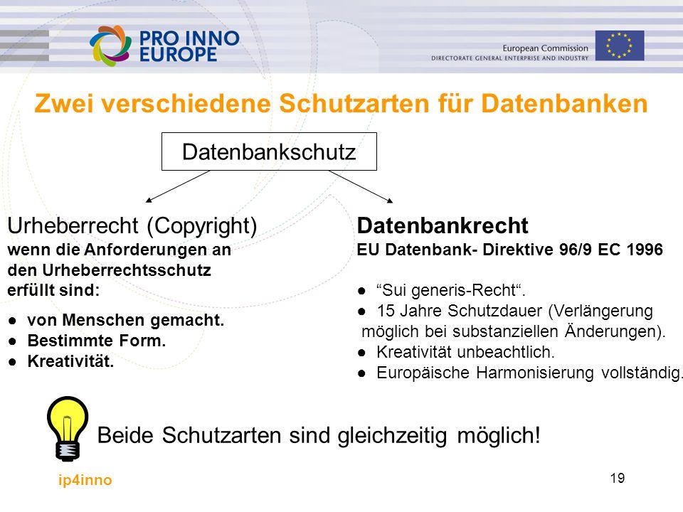 ip4inno 19 Zwei verschiedene Schutzarten für Datenbanken Datenbankschutz Urheberrecht (Copyright) wenn die Anforderungen an den Urheberrechtsschutz er