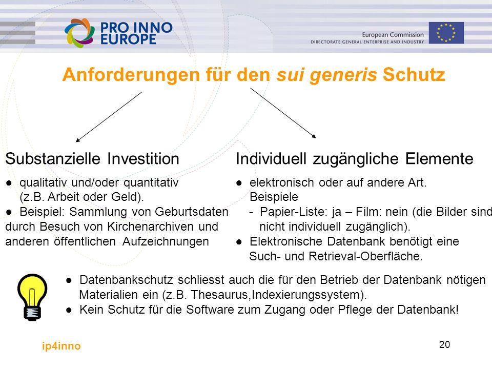 ip4inno 20 Anforderungen für den sui generis Schutz Substanzielle Investition ●qualitativ und/oder quantitativ (z.B. Arbeit oder Geld). ●Beispiel: Sam