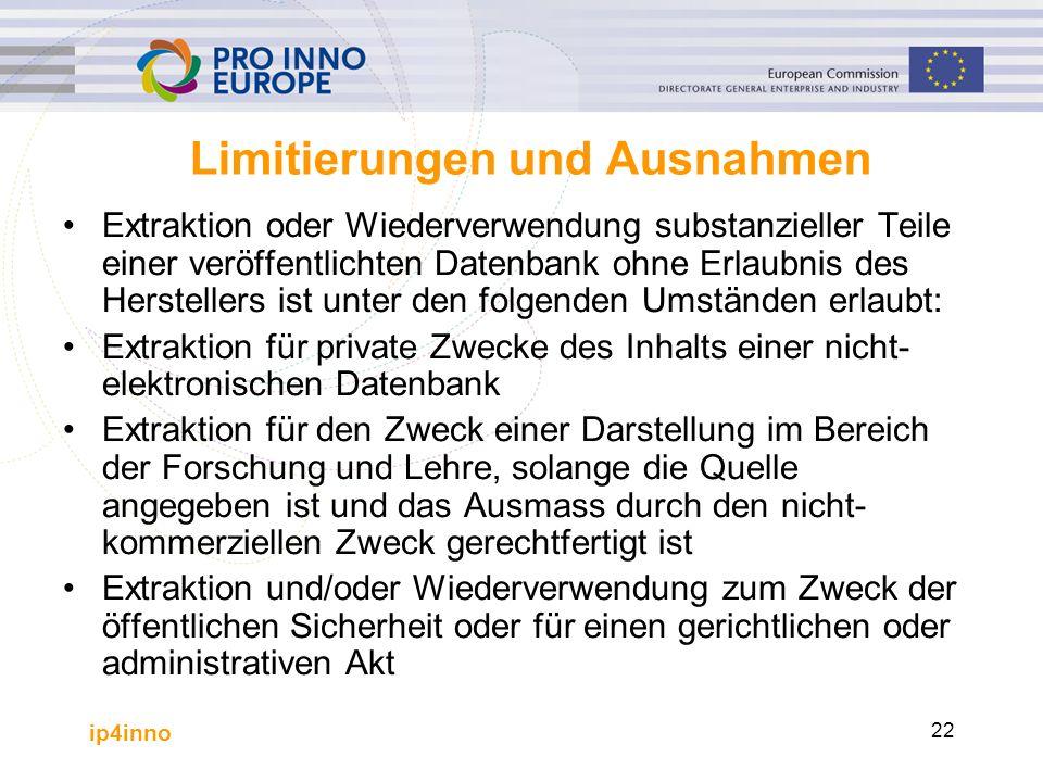 ip4inno 22 Limitierungen und Ausnahmen Extraktion oder Wiederverwendung substanzieller Teile einer veröffentlichten Datenbank ohne Erlaubnis des Herst