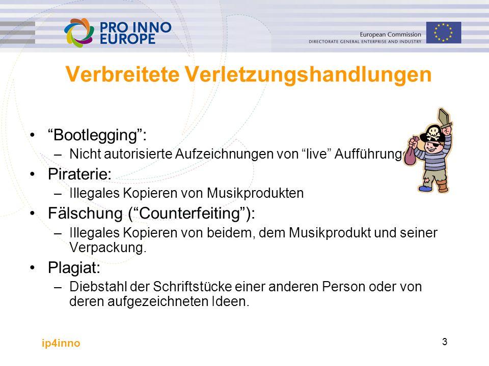 """ip4inno 3 Verbreitete Verletzungshandlungen """"Bootlegging"""": –Nicht autorisierte Aufzeichnungen von """"live"""" Aufführungen Piraterie: –Illegales Kopieren v"""