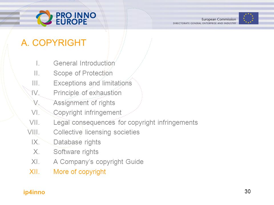 ip4inno 30 A. COPYRIGHT I.General Introduction II.Scope of Protection III.Exceptions and limitations IV.Principle of exhaustion V.Assignment of rights