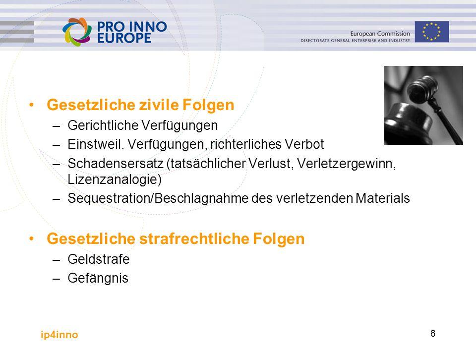 ip4inno 6 Gesetzliche zivile Folgen –Gerichtliche Verfügungen –Einstweil.