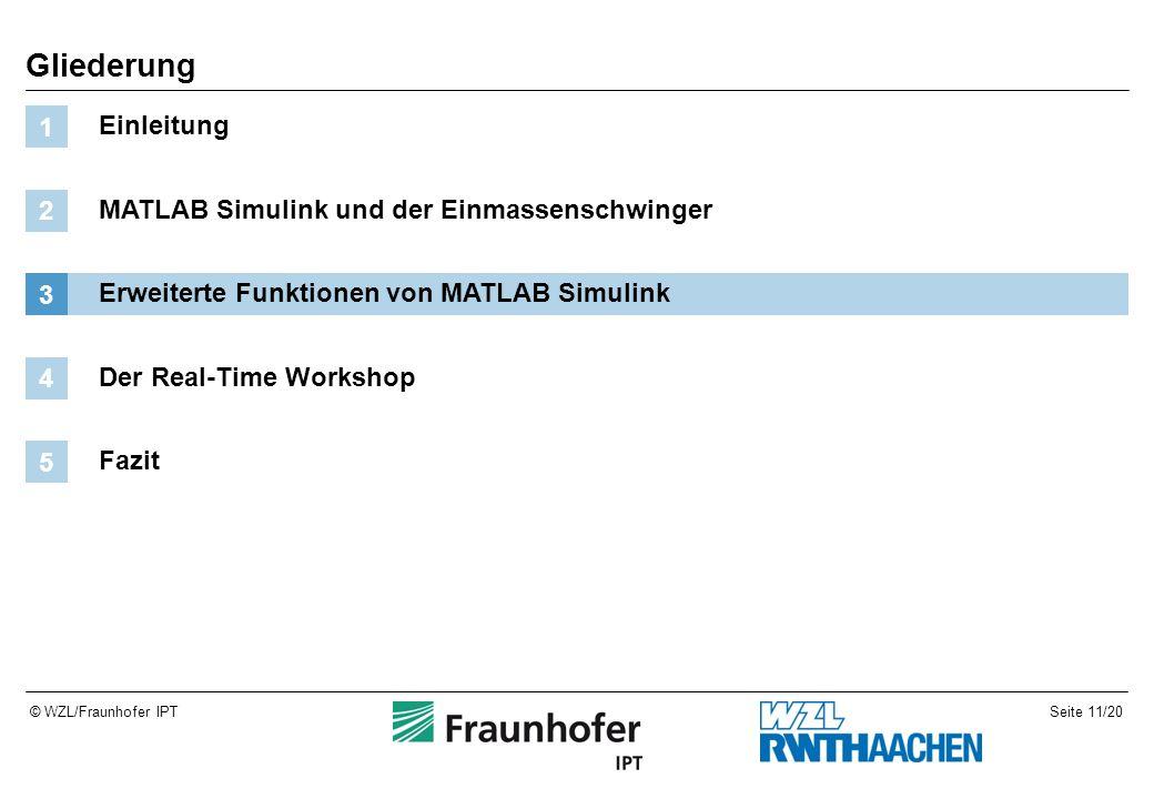 Seite 11/20© WZL/Fraunhofer IPT Gliederung Einleitung 1 MATLAB Simulink und der Einmassenschwinger 2 Erweiterte Funktionen von MATLAB Simulink 3 Der Real-Time Workshop 4 Fazit 5