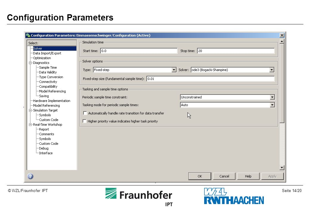 Seite 14/20© WZL/Fraunhofer IPT Configuration Parameters