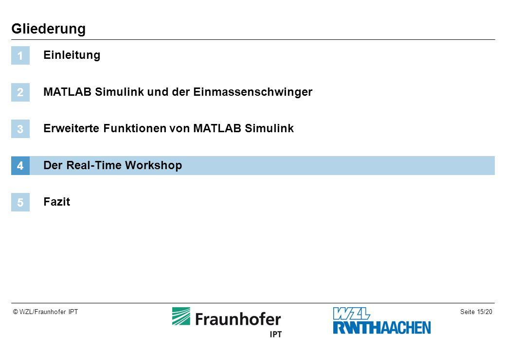 Seite 15/20© WZL/Fraunhofer IPT Gliederung Einleitung 1 MATLAB Simulink und der Einmassenschwinger 2 Erweiterte Funktionen von MATLAB Simulink 3 Der Real-Time Workshop 4 Fazit 5
