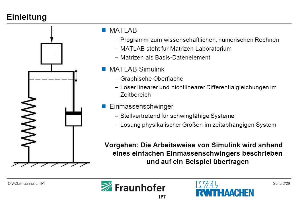 Seite 2/20© WZL/Fraunhofer IPT Einleitung MATLAB –Programm zum wissenschaftlichen, numerischen Rechnen –MATLAB steht für Matrizen Laboratorium –Matriz
