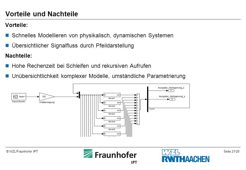 Seite 21/20© WZL/Fraunhofer IPT Vorteile und Nachteile Vorteile: Schnelles Modellieren von physikalisch, dynamischen Systemen Übersichtlicher Signalfluss durch Pfeildarstellung Nachteile: Hohe Rechenzeit bei Schleifen und rekursiven Aufrufen Unübersichtlichkeit komplexer Modelle, umständliche Parametrierung