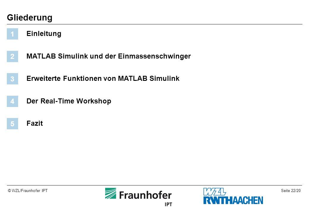 Seite 22/20© WZL/Fraunhofer IPT Gliederung Einleitung 1 MATLAB Simulink und der Einmassenschwinger 2 Erweiterte Funktionen von MATLAB Simulink 3 Der Real-Time Workshop 4 Fazit 5