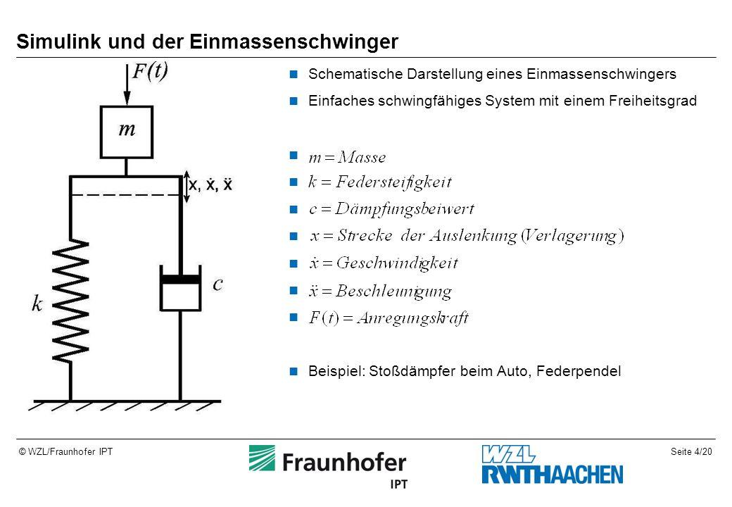 Seite 4/20© WZL/Fraunhofer IPT Simulink und der Einmassenschwinger Schematische Darstellung eines Einmassenschwingers Einfaches schwingfähiges System mit einem Freiheitsgrad Beispiel: Stoßdämpfer beim Auto, Federpendel