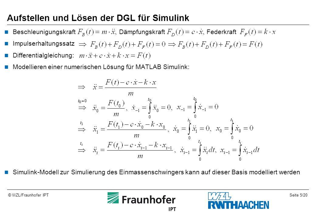 Seite 5/20© WZL/Fraunhofer IPT Aufstellen und Lösen der DGL für Simulink Beschleunigungskraft Dämpfungskraft Federkraft Impulserhaltungssatz Differentialgleichung: Modellieren einer numerischen Lösung für MATLAB Simulink: Simulink-Modell zur Simulierung des Einmassenschwingers kann auf dieser Basis modelliert werden