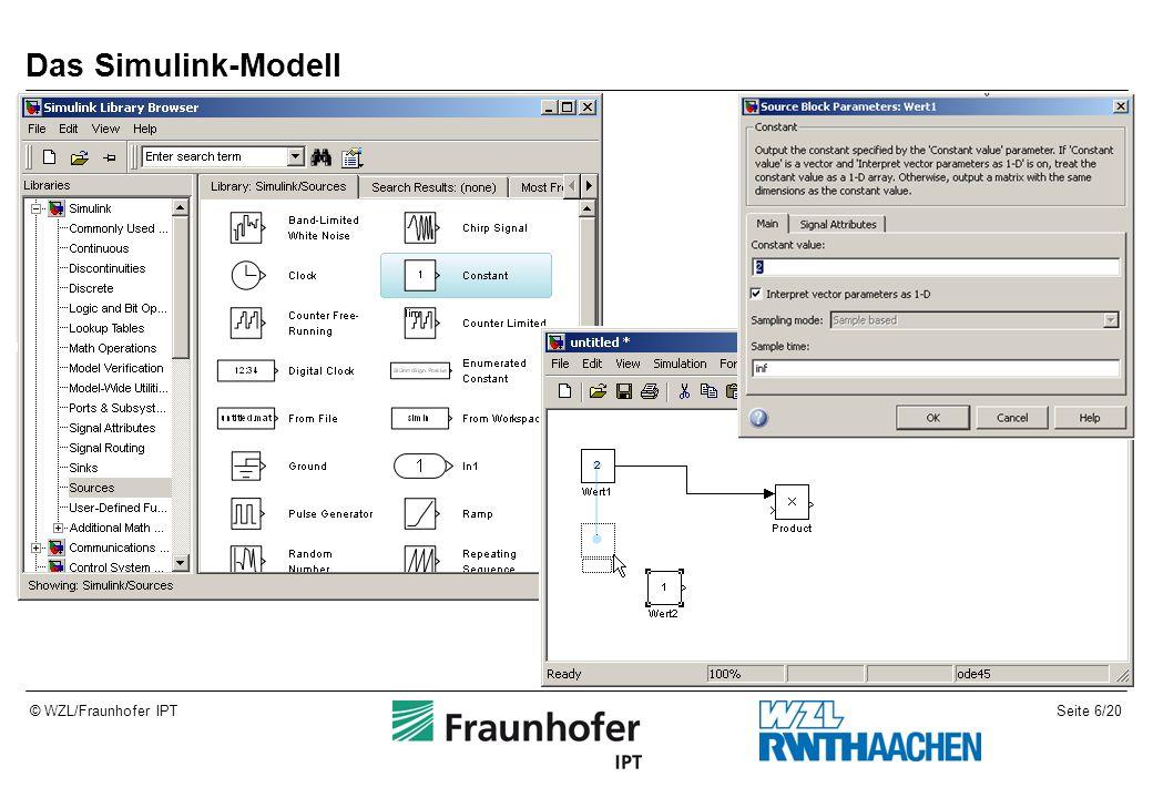 Seite 6/20© WZL/Fraunhofer IPT Das Simulink-Modell