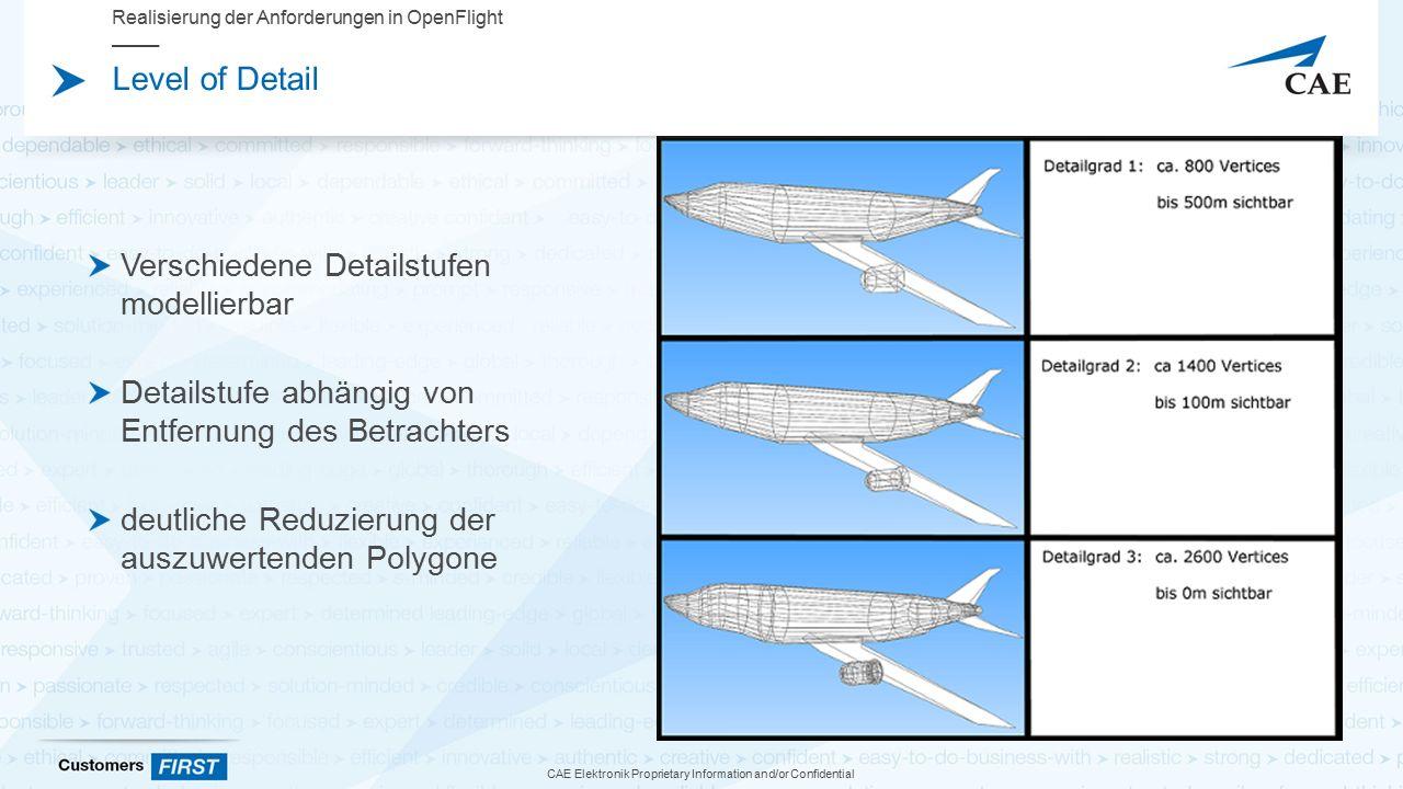 CAE Elektronik Proprietary Information and/or Confidential Level of Detail Verschiedene Detailstufen modellierbar Detailstufe abhängig von Entfernung des Betrachters deutliche Reduzierung der auszuwertenden Polygone Realisierung der Anforderungen in OpenFlight