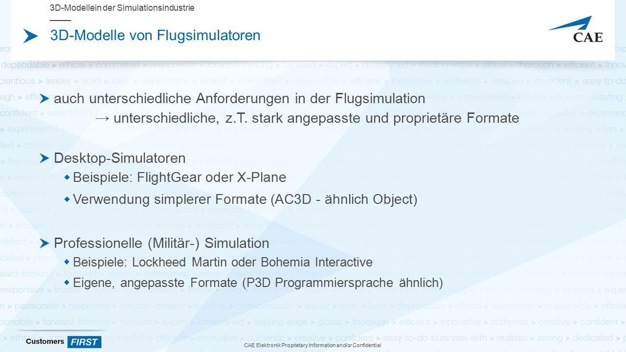 CAE Elektronik Proprietary Information and/or Confidential 3D-Modelle von Flugsimulatoren auch unterschiedliche Anforderungen in der Flugsimulation → unterschiedliche, z.T.