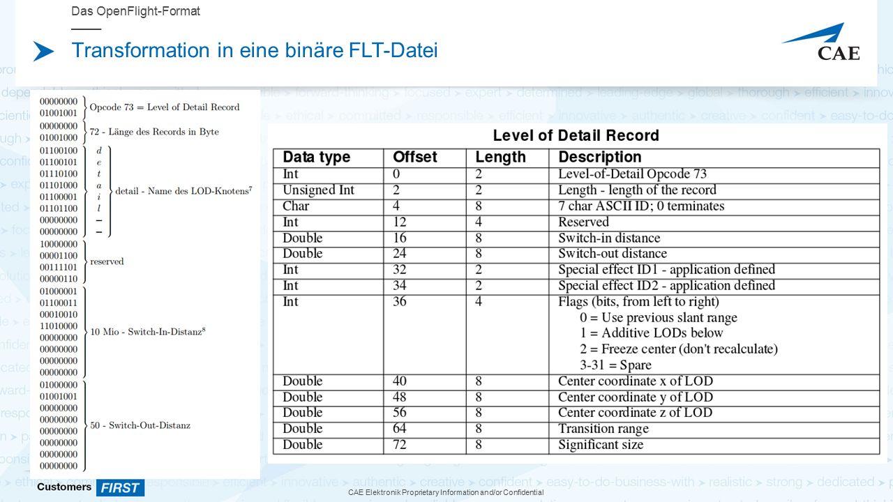 CAE Elektronik Proprietary Information and/or Confidential Transformation in eine binäre FLT-Datei Das OpenFlight-Format