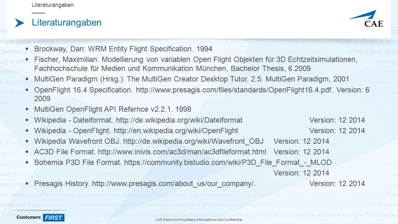 CAE Elektronik Proprietary Information and/or Confidential Literaturangaben  Brockway, Dan: WRM Entity Flight Specification.