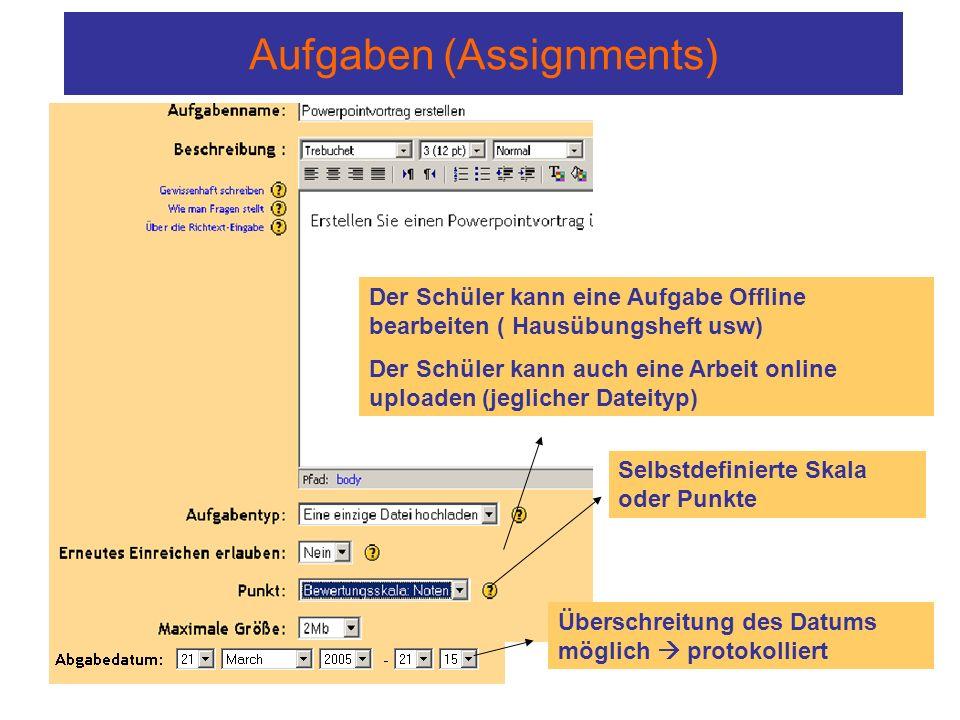 Aufgaben (Assignments) Der Schüler kann eine Aufgabe Offline bearbeiten ( Hausübungsheft usw) Der Schüler kann auch eine Arbeit online uploaden (jeglicher Dateityp) Selbstdefinierte Skala oder Punkte Überschreitung des Datums möglich  protokolliert
