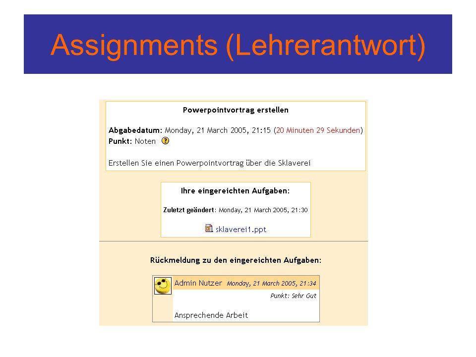 Assignments (Lehrerantwort)