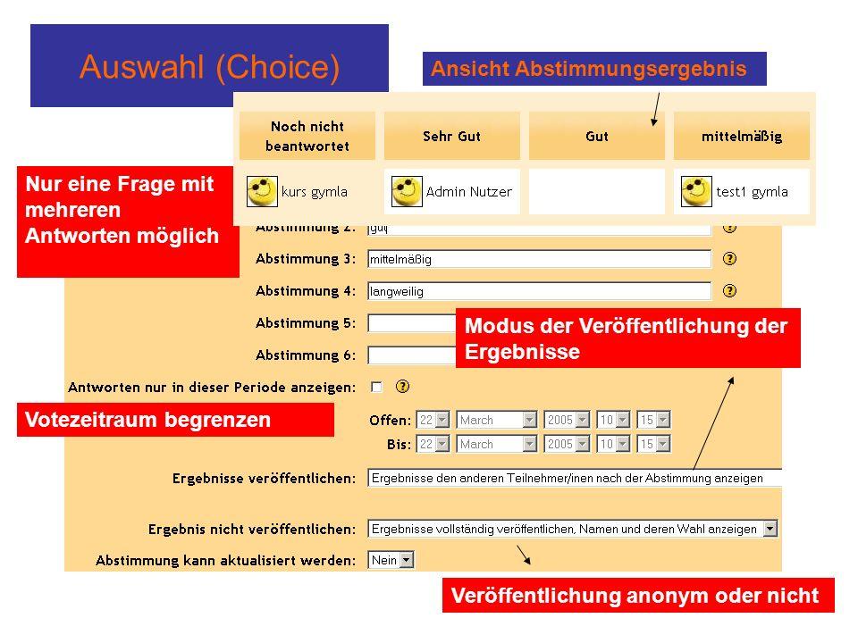 Auswahl (Choice) Nur eine Frage mit mehreren Antworten möglich Votezeitraum begrenzen Modus der Veröffentlichung der Ergebnisse Veröffentlichung anonym oder nicht Ansicht Abstimmungsergebnis