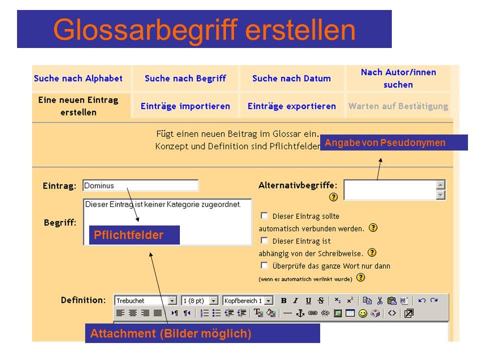 Glossarbegriff erstellen Angabe von Pseudonymen Pflichtfelder Attachment (Bilder möglich)