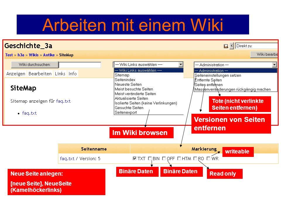 Arbeiten mit einem Wiki Im Wiki browsen Binäre Daten Read only writeable Neue Seite anlegen: [neue Seite], NeueSeite (Kamelhöckerlinks) Versionen von Seiten entfernen Tote (nicht verlinkte Seiten entfernen)
