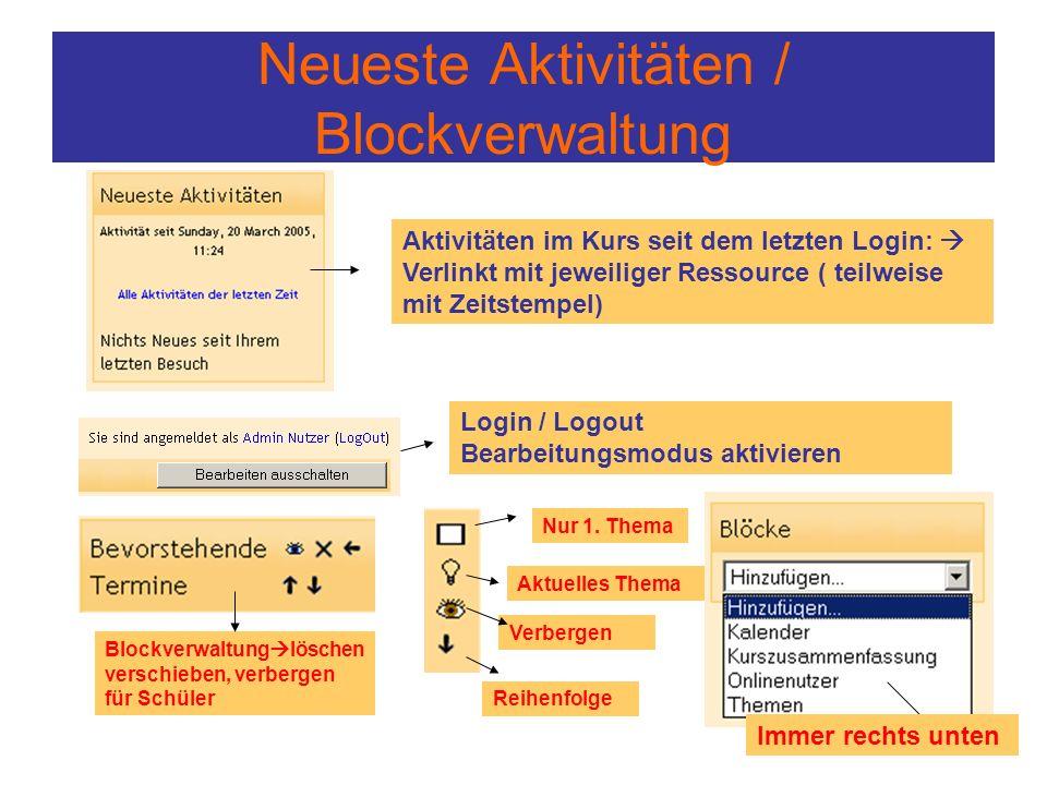 Neueste Aktivitäten / Blockverwaltung Aktivitäten im Kurs seit dem letzten Login:  Verlinkt mit jeweiliger Ressource ( teilweise mit Zeitstempel) Log