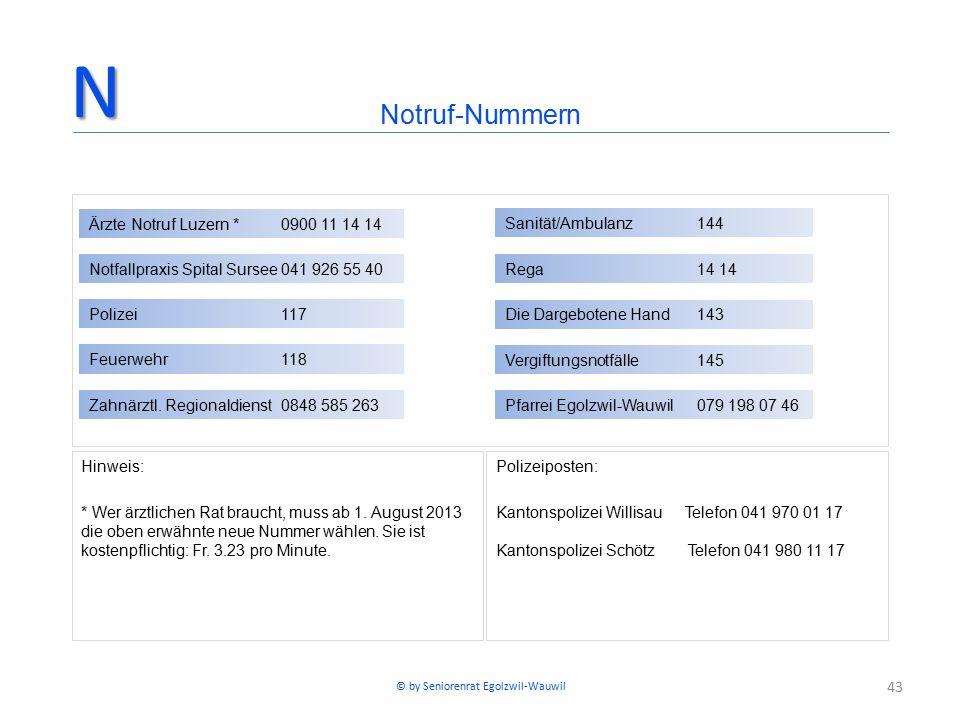43 Hinweis: * Wer ärztlichen Rat braucht, muss ab 1. August 2013 die oben erwähnte neue Nummer wählen. Sie ist kostenpflichtig: Fr. 3.23 pro Minute. P