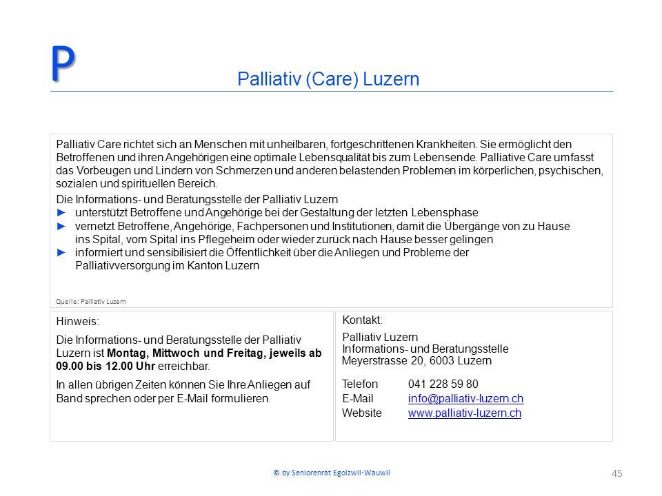 45 Hinweis: Die Informations- und Beratungsstelle der Palliativ Luzern ist Montag, Mittwoch und Freitag, jeweils ab 09.00 bis 12.00 Uhr erreichbar. In