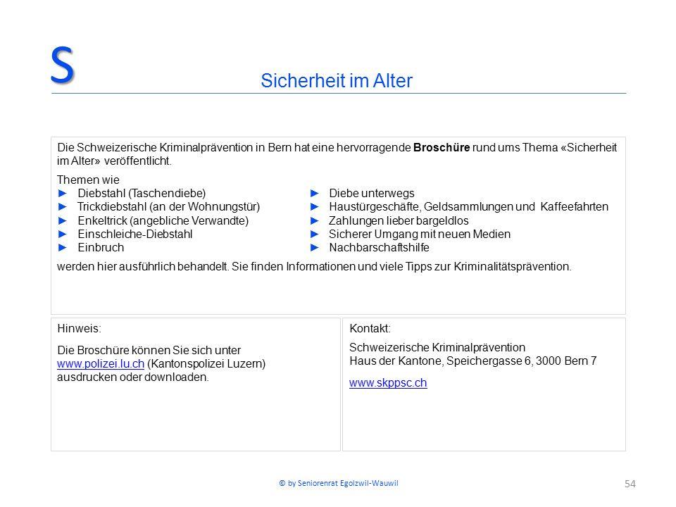 54 Hinweis: Die Broschüre können Sie sich unter www.polizei.lu.chwww.polizei.lu.ch (Kantonspolizei Luzern) ausdrucken oder downloaden. Kontakt: Schwei