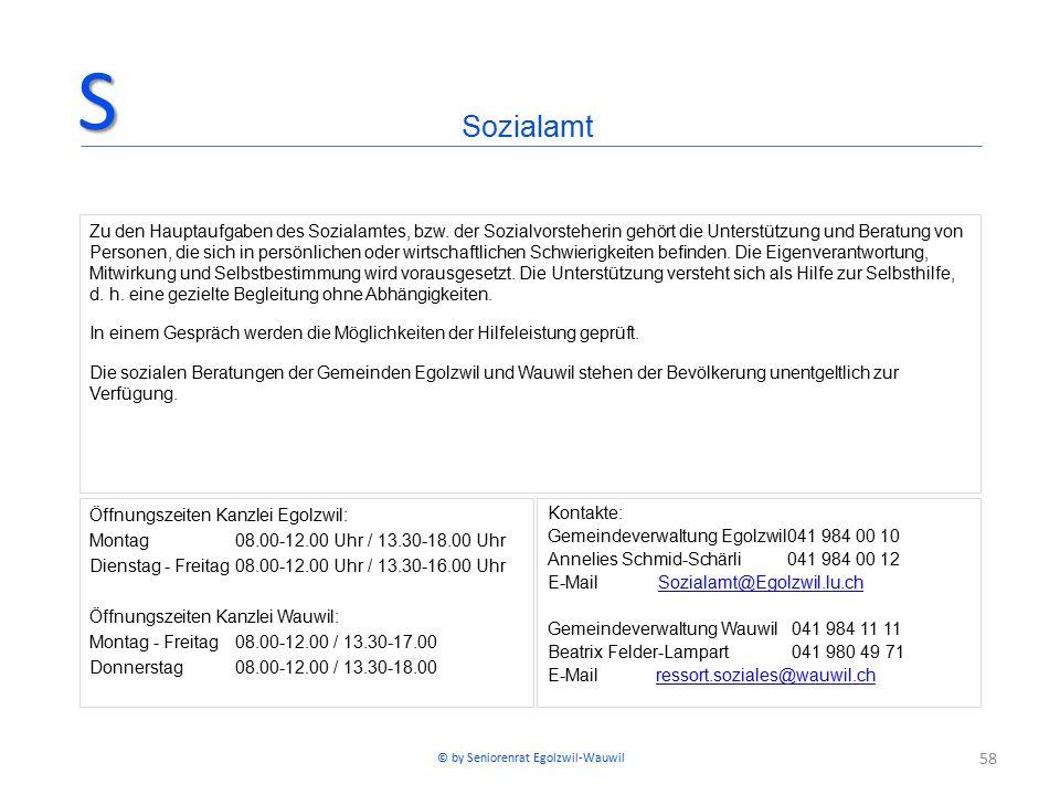 58 Öffnungszeiten Kanzlei Egolzwil: Montag08.00-12.00 Uhr / 13.30-18.00 Uhr Dienstag - Freitag08.00-12.00 Uhr / 13.30-16.00 Uhr Öffnungszeiten Kanzlei Wauwil: Montag - Freitag08.00-12.00 / 13.30-17.00 Donnerstag08.00-12.00 / 13.30-18.00 Kontakte: Gemeindeverwaltung Egolzwil041 984 00 10 Annelies Schmid-Schärli041 984 00 12 E-Mail Sozialamt@Egolzwil.lu.chSozialamt@Egolzwil.lu.ch Gemeindeverwaltung Wauwil 041 984 11 11 Beatrix Felder-Lampart 041 980 49 71 E-Mail ressort.soziales@wauwil.chressort.soziales@wauwil.ch SozialamtS Zu den Hauptaufgaben des Sozialamtes, bzw.