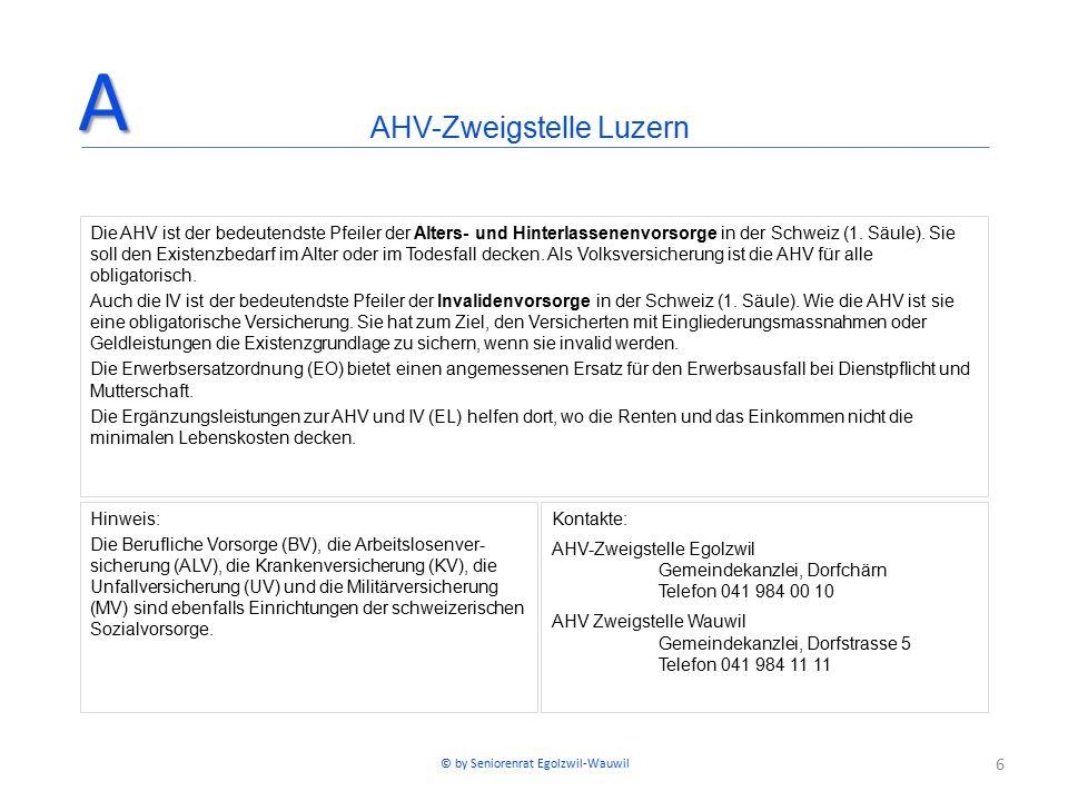 6 Die AHV ist der bedeutendste Pfeiler der Alters- und Hinterlassenenvorsorge in der Schweiz (1. Säule). Sie soll den Existenzbedarf im Alter oder im