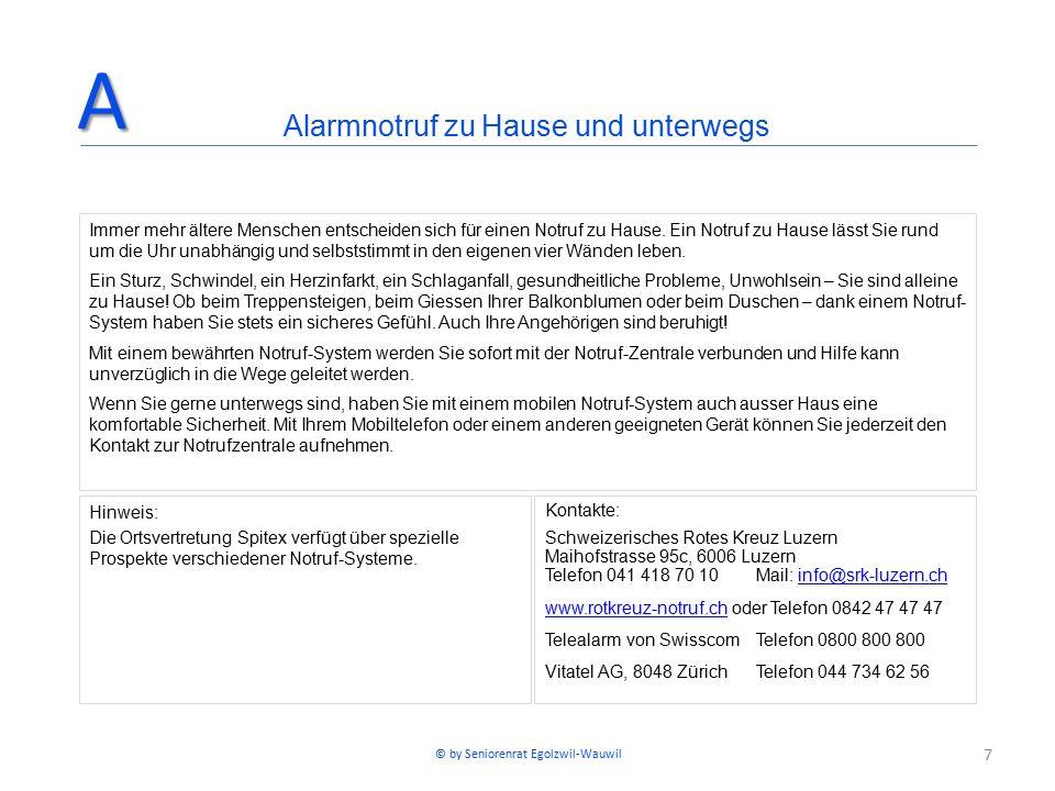 7 Kontakte: Schweizerisches Rotes Kreuz Luzern Maihofstrasse 95c, 6006 Luzern Telefon 041 418 70 10Mail: info@srk-luzern.chinfo@srk-luzern.ch www.rotkreuz-notruf.chwww.rotkreuz-notruf.ch oder Telefon 0842 47 47 47 Telealarm von SwisscomTelefon 0800 800 800 Vitatel AG, 8048 ZürichTelefon 044 734 62 56 Alarmnotruf zu Hause und unterwegsA Immer mehr ältere Menschen entscheiden sich für einen Notruf zu Hause.