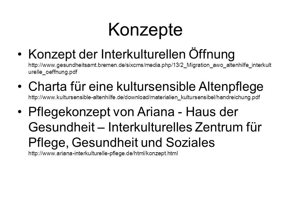 Konzepte Konzept der Interkulturellen Öffnung http://www.gesundheitsamt.bremen.de/sixcms/media.php/13/2_Migration_awo_altenhilfe_interkult urelle_oeff