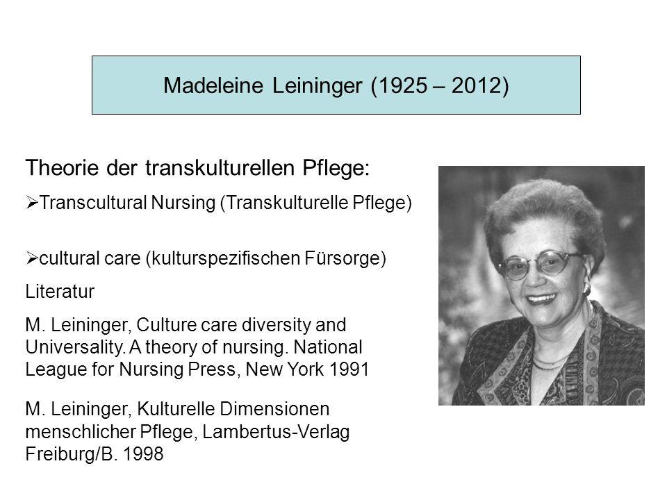 Madeleine Leininger (1925 – 2012) Theorie der transkulturellen Pflege:  Transcultural Nursing (Transkulturelle Pflege)  cultural care (kulturspezifischen Fürsorge) Literatur M.