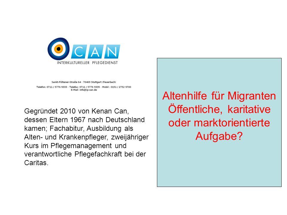 Gegründet 2010 von Kenan Can, dessen Eltern 1967 nach Deutschland kamen; Fachabitur, Ausbildung als Alten- und Krankenpfleger, zweijähriger Kurs im Pflegemanagement und verantwortliche Pflegefachkraft bei der Caritas.