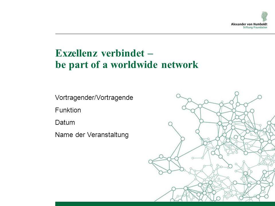 Exzellenz verbindet – be part of a worldwide network Vortragender/Vortragende Funktion Datum Name der Veranstaltung