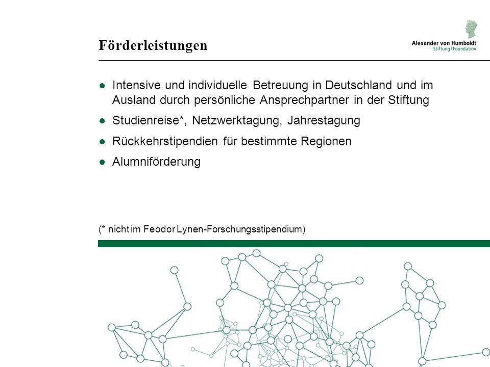 Förderleistungen ●Intensive und individuelle Betreuung in Deutschland und im Ausland durch persönliche Ansprechpartner in der Stiftung ●Studienreise*,
