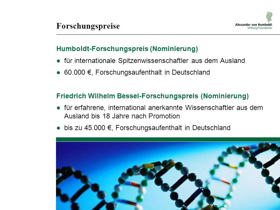 Forschungspreise Humboldt-Forschungspreis (Nominierung) ●für internationale Spitzenwissenschaftler aus dem Ausland ●60.000 €, Forschungsaufenthalt in