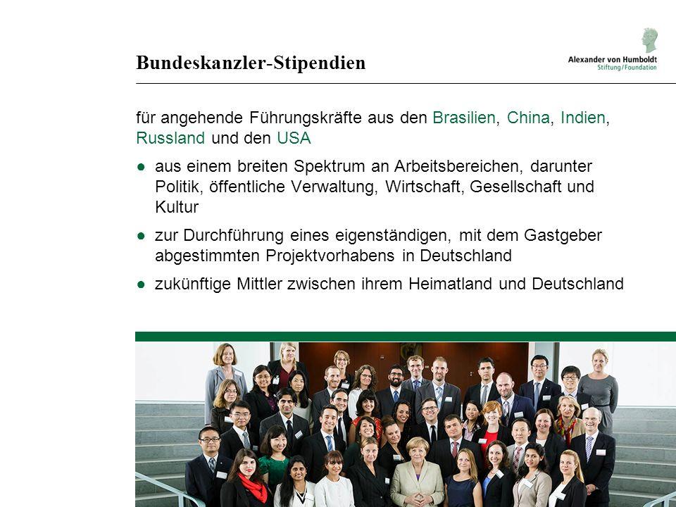 Bundeskanzler-Stipendien für angehende Führungskräfte aus den Brasilien, China, Indien, Russland und den USA ●aus einem breiten Spektrum an Arbeitsber