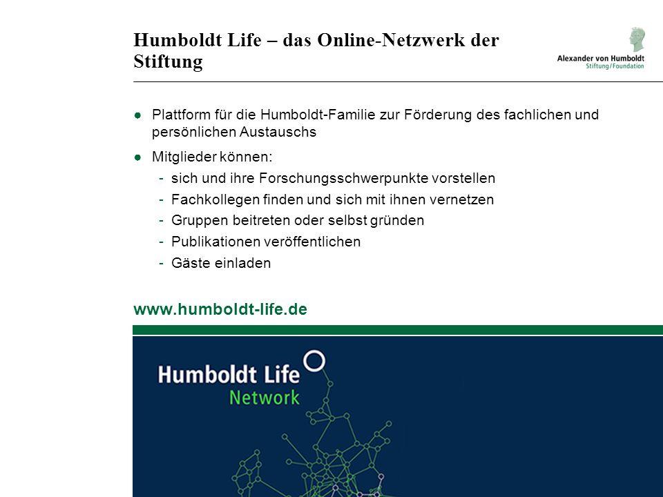 Humboldt Life – das Online-Netzwerk der Stiftung ●Plattform für die Humboldt-Familie zur Förderung des fachlichen und persönlichen Austauschs ●Mitglie