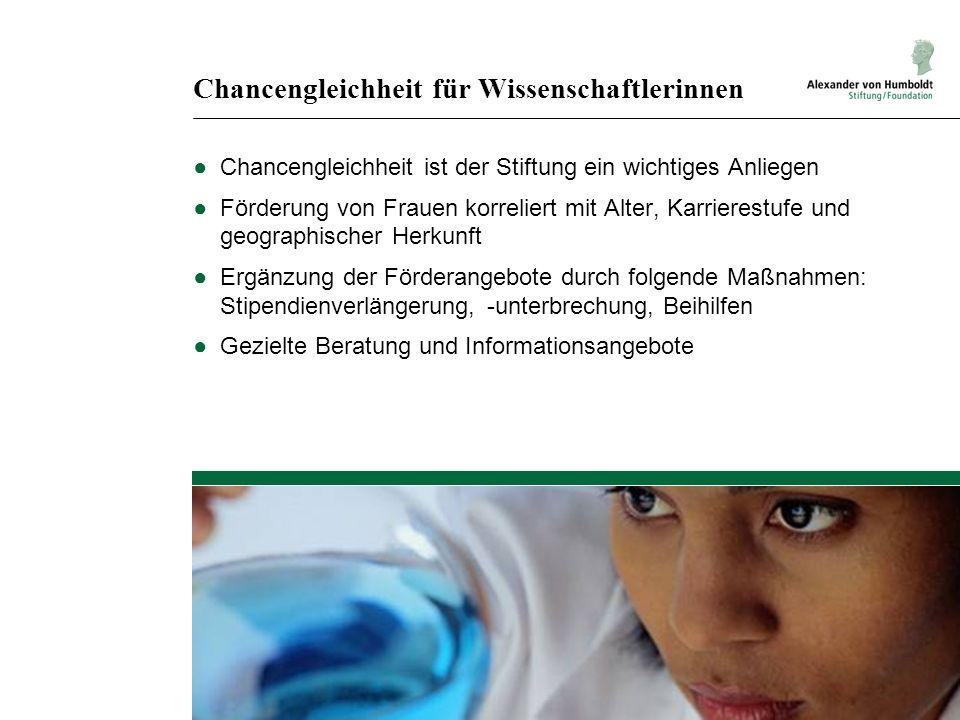 Chancengleichheit für Wissenschaftlerinnen ●Chancengleichheit ist der Stiftung ein wichtiges Anliegen ●Förderung von Frauen korreliert mit Alter, Karr