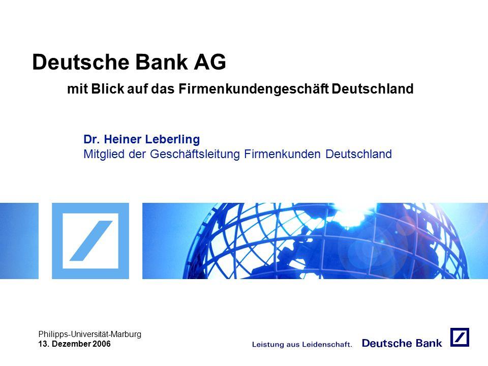 """Achtung! Präsentation nicht toggeln, da sonst Logo """"Passion to perform"""" erneut eingefügt wird. Philipps-Universität-Marburg 13. Dezember 2006 Deutsche"""