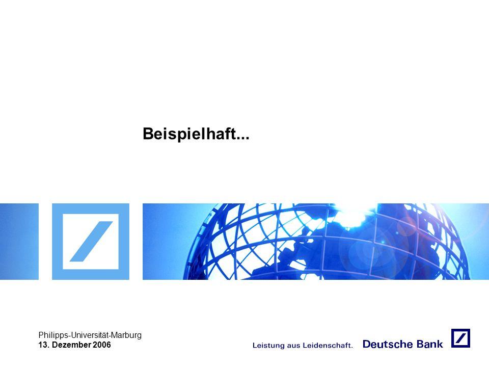 """Achtung! Präsentation nicht toggeln, da sonst Logo """"Passion to perform"""" erneut eingefügt wird. Philipps-Universität-Marburg 13. Dezember 2006 Beispiel"""