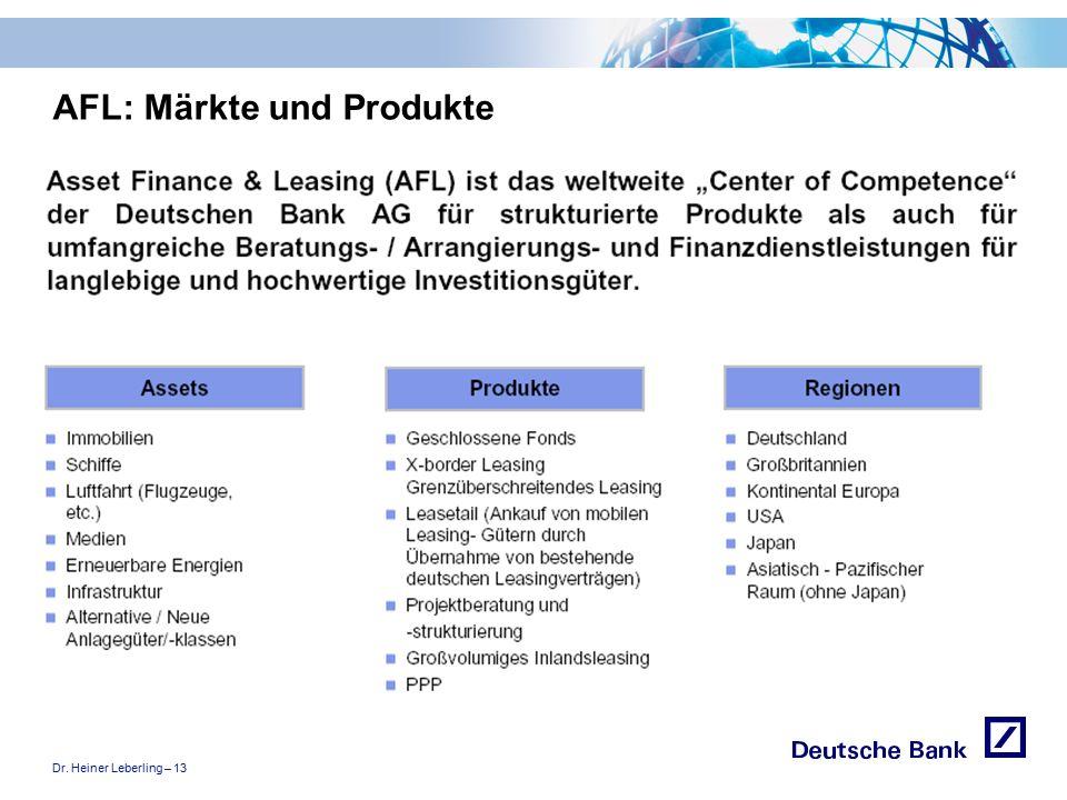 """Dr. Heiner Leberling – 13 Achtung! Präsentation nicht toggeln, da sonst Logo """"Passion to perform"""" erneut eingefügt wird. AFL: Märkte und Produkte"""