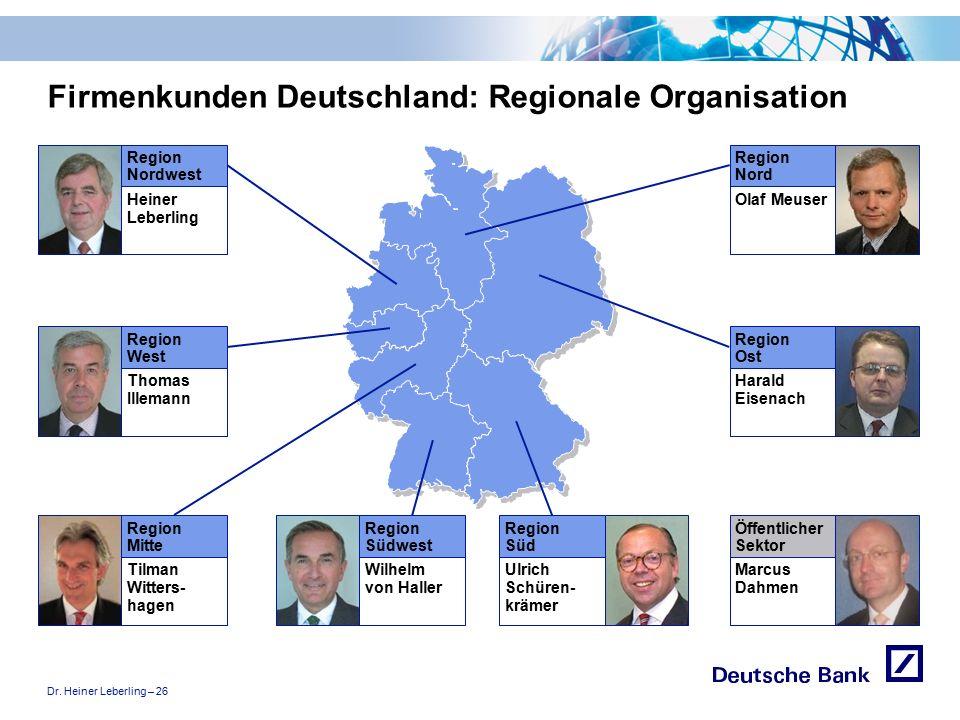 """Dr. Heiner Leberling – 26 Achtung! Präsentation nicht toggeln, da sonst Logo """"Passion to perform"""" erneut eingefügt wird. Firmenkunden Deutschland: Reg"""