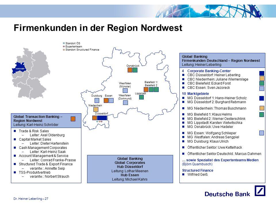 """Dr. Heiner Leberling – 27 Achtung! Präsentation nicht toggeln, da sonst Logo """"Passion to perform"""" erneut eingefügt wird. Firmenkunden in der Region No"""