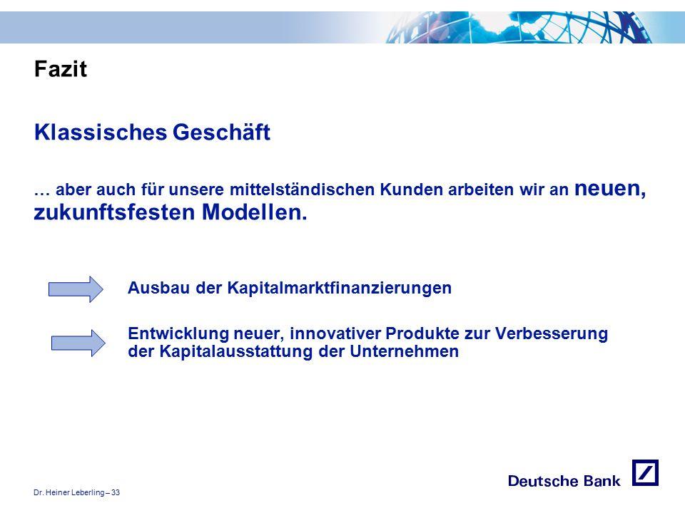 """Dr. Heiner Leberling – 33 Achtung! Präsentation nicht toggeln, da sonst Logo """"Passion to perform"""" erneut eingefügt wird. Fazit Klassisches Geschäft …"""