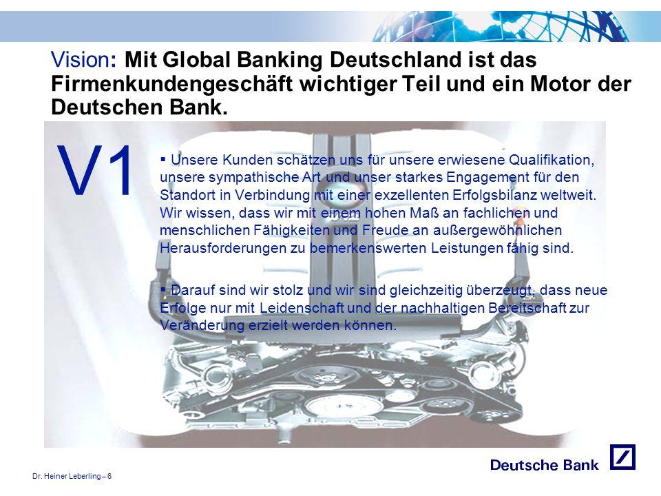 """Dr. Heiner Leberling – 6 Achtung! Präsentation nicht toggeln, da sonst Logo """"Passion to perform"""" erneut eingefügt wird. Vision: Mit Global Banking Deu"""