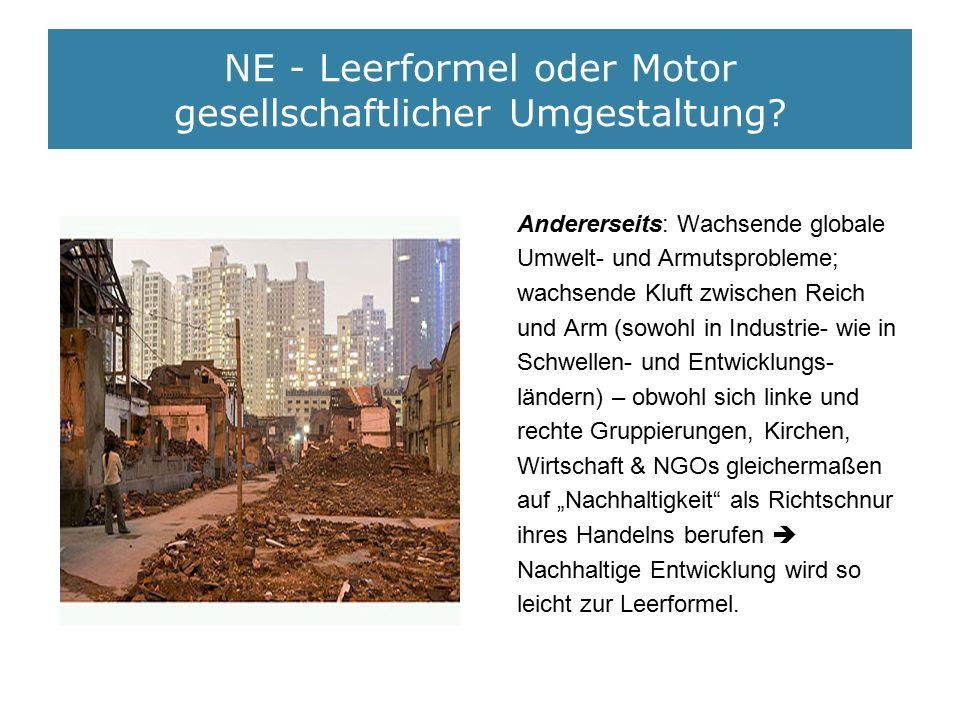 NE - Leerformel oder Motor gesellschaftlicher Umgestaltung? Andererseits: Wachsende globale Umwelt- und Armutsprobleme; wachsende Kluft zwischen Reich
