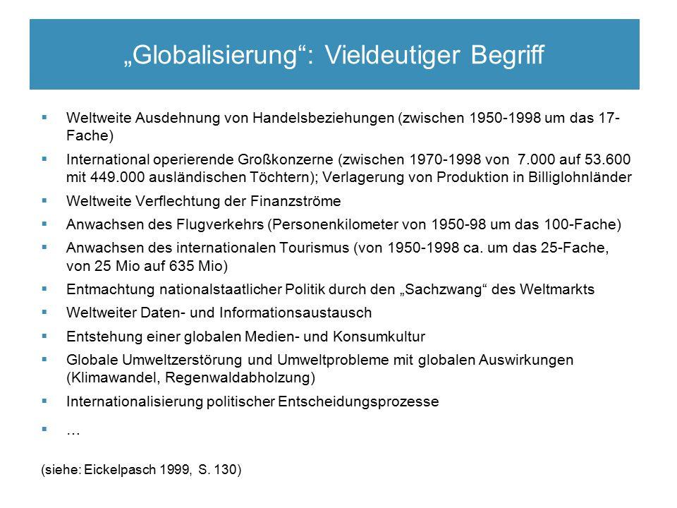 Elitäre Rekrutierungsmechanismen  Weltweite Ausdehnung von Handelsbeziehungen (zwischen 1950-1998 um das 17- Fache)  International operierende Großkonzerne (zwischen 1970-1998 von 7.000 auf 53.600 mit 449.000 ausländischen Töchtern); Verlagerung von Produktion in Billiglohnländer  Weltweite Verflechtung der Finanzströme  Anwachsen des Flugverkehrs (Personenkilometer von 1950-98 um das 100-Fache)  Anwachsen des internationalen Tourismus (von 1950-1998 ca.